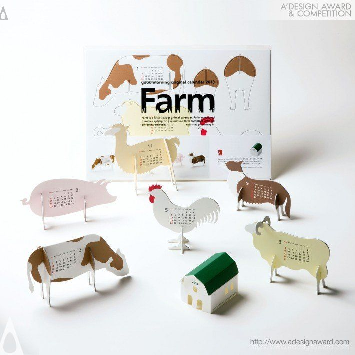 """A' Design Award and Competition - Images of Calendar 2013 """"farm"""" by Katsumi Tamura"""