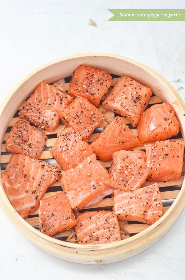 Mushiki steamed garlic and peppered salmon.  Mushiki are those steamer baskets normally used with a wok.