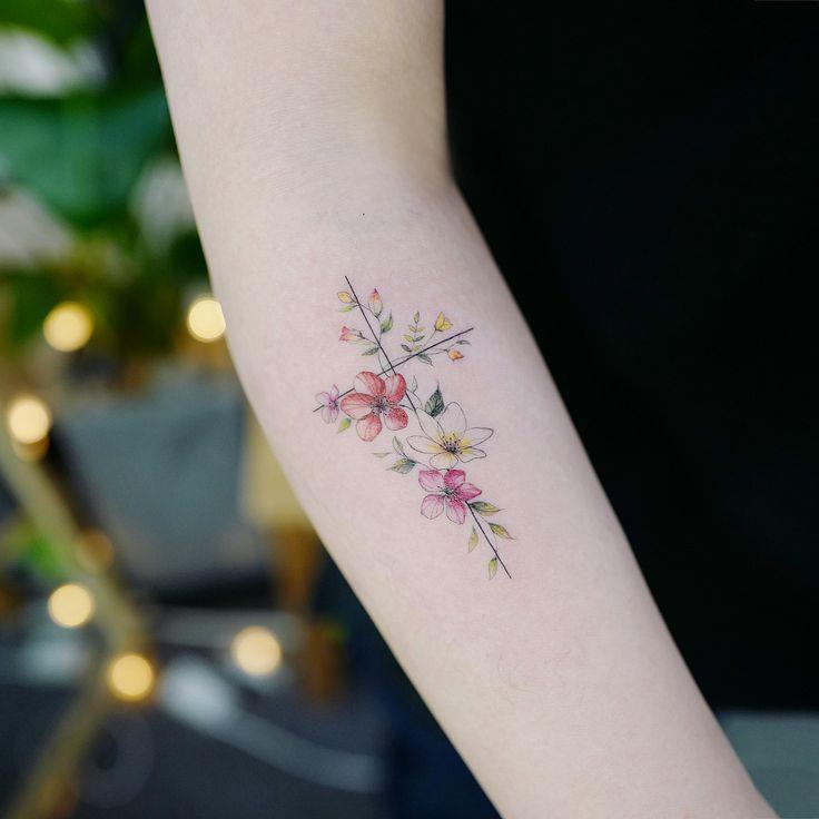 Flower Cross Tattoo Artist: Tattooist Banul Seoul, Korea – Awesome Tatoos