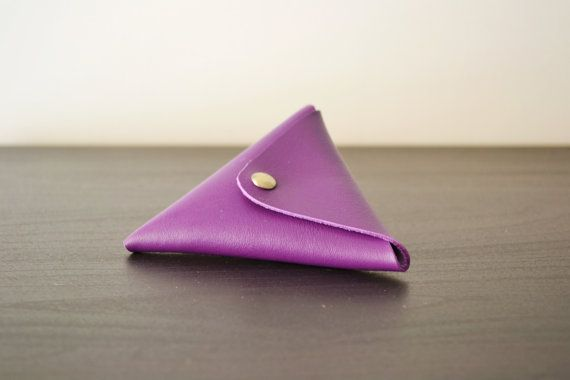 Purple leather triangle coin purse / Triangle by LeatherDetails