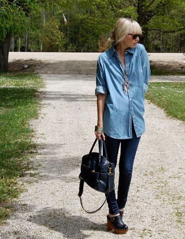 H Jean Shirt, Bdg Jeans, Jeffrey Campbell Clogs, Topshop Purse