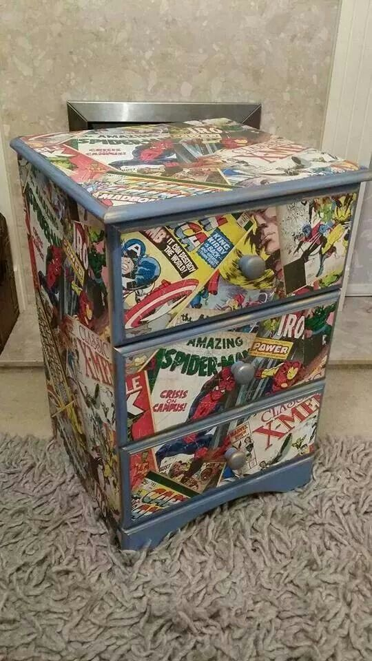 Marvel Decoupage Chest Of Drawers Marvel Bedroom Diy