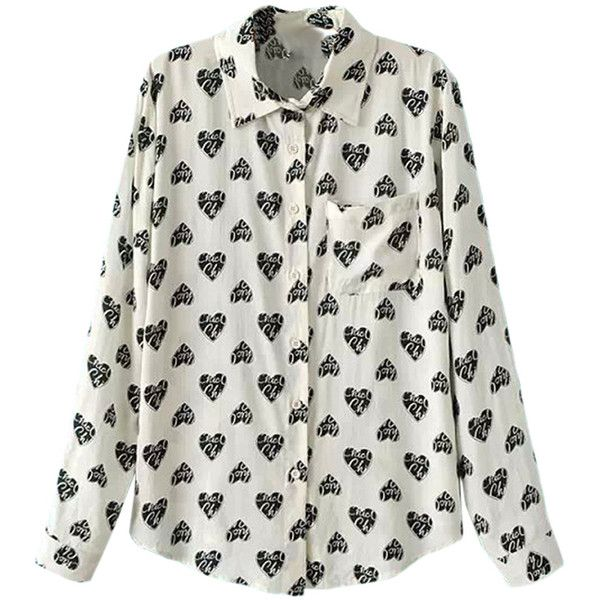 Beige Ladies Fancy Hearts Printed Lapel Long Sleeves Blouse ($23) ❤ liked on Polyvore featuring tops, blouses, heart tops, fancy white blouses, fancy blouses, heart blouse and dressy white blouses