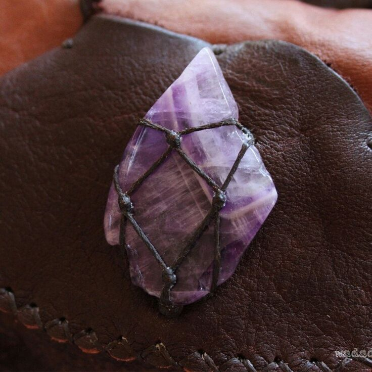 ♥ Details ♥ Beautiful polished Chevron Amethyst slice on the pocket of one of the new Ready-to-Ship utility belts just added to the shop.