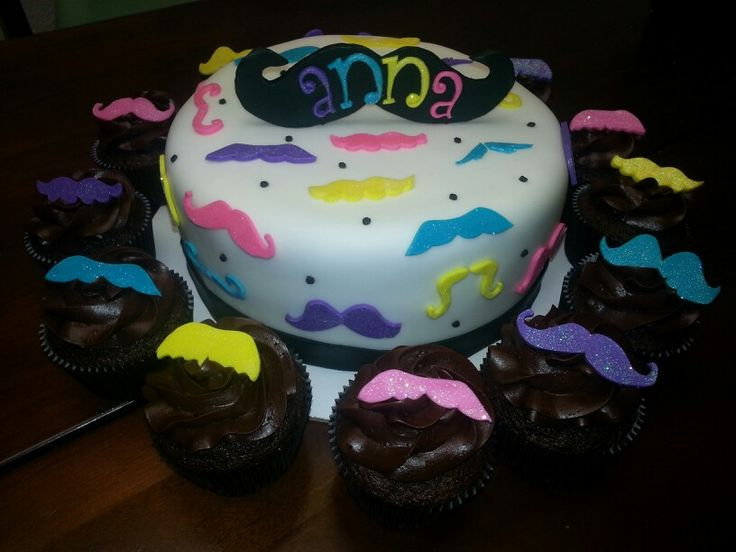 Girly mustache cake and cupcakes