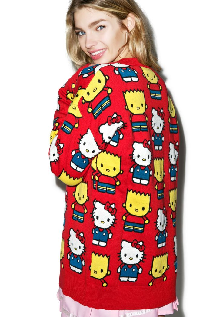 Hello Kitty Cardigan Knitting Pattern : Hello Kitty & Bart Simpson Cardigan Cardigans, Bart simpson and Hello k...