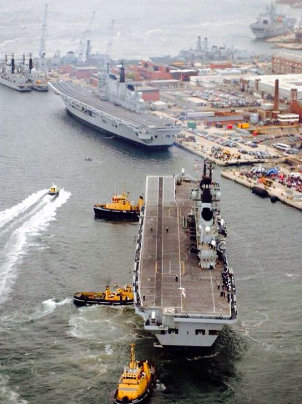 When we had a Navy. HMS Ark Royal berthing with sister ship HMS Invincible, Portsmouth, 2008