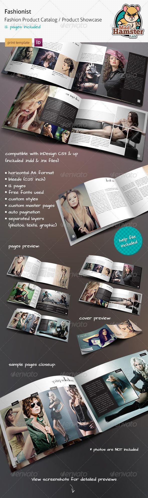 Fashionist - Fashion Product Catalog / Showcase. Fashionist is a A4 horizontal fashion product catalog / product showcase / photography portfolio A4 brochure. Minimal style of this print template makes a clean and elegant look. Highly organized elements (on differents layers). Ideal for fashion companies, clothes shops, shoe stores, photographers, web and graphic designers and other people where photography presentation or photo portfolio is required. Contains 12 pages.