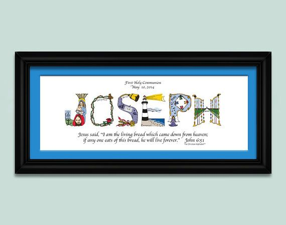 First communion gifts for Boys using letters from The Christian Alphabet™ to create a unique, personalized Christian name artwork. We also
