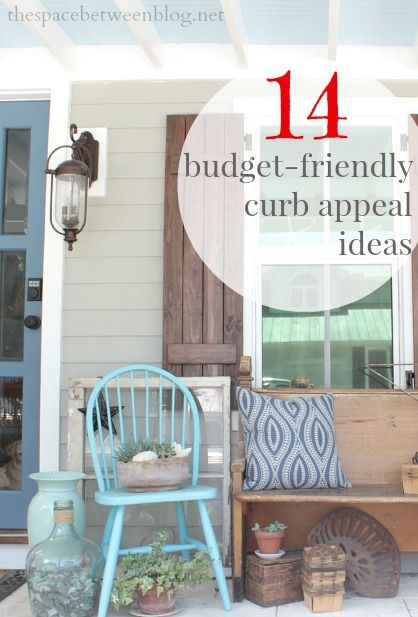 peach paint and puney patio posts {curb appeal ideas