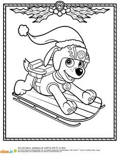 Paw Patrol Winter Coloring Page #puppies