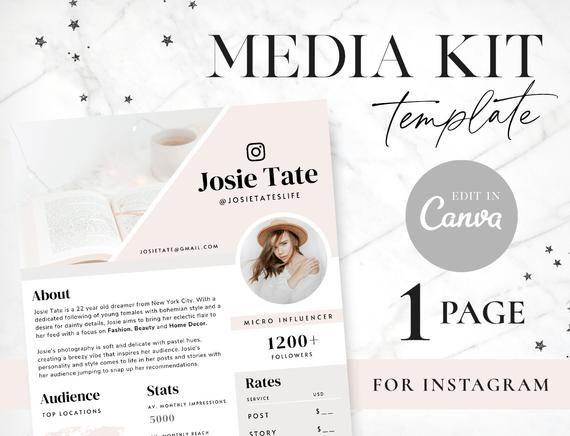 Media Kit For Instagram Canva Template Media Kit Templates Etsy In 2020 Media Kit Template Media Kit Templates
