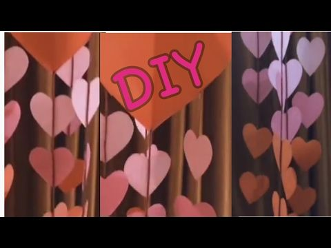 DIY Valentine Decore : How to make wind chime style valentine decore wall hanging - YouTube