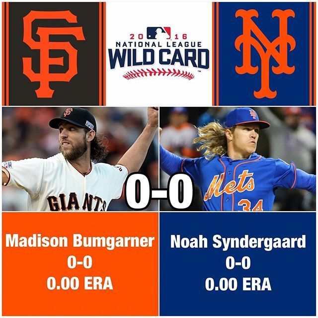 Tonight's NL #WildCard game is about to begin in New York, featuring Madison Bumgarner and Noah Syndergaard. Bumgarner, a three-time World Series champion and 2014 World Series MVP, owns a 2.14 ERA in 12 starts and two relief appearances in the playoffs. Syndergaard is making his fifth postseason appearance and fourth start tonight. The winner will advance to the #NLDS against the Cubs, beginning on Friday. Who will win? #MadisonBumgarner #NoahSyndergaard #NewYorkMets #Mets…