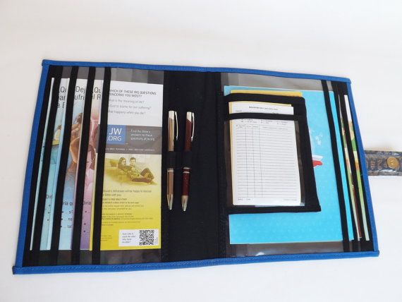 jw field service organizer blue and brown