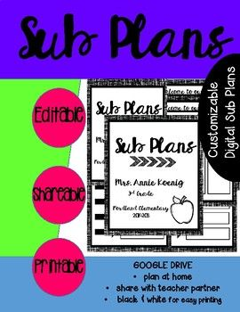 Customizable Google Drive Plans -- Tired of coming in when you are sick to get your emergency plans ready? Use these google drive plans to edit, share and print everything you need. The google slides document includes Cover page Welcome to Our Classroom -- attendance procedures, people who can help you, &