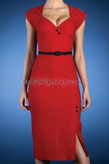 Paris Red Dress with Black Buttons by Stop Staring