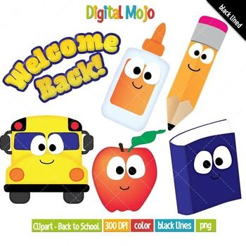 Back to School Clipart Set. Available for commercial use... What you get: - Bus, glue, pencil, apple and book clipart - Welcome Back! phrase clipart - Black lined images