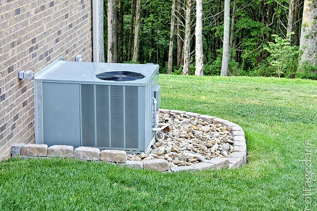 I really like this idea for dressing up the HVAC. Right now we're trying to regrow the grass around it without much luck. have considered A/C Unit covers but nothing looks good.