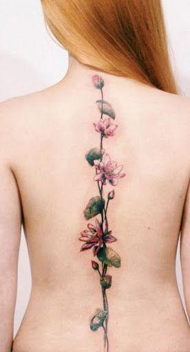 Coluna de Tatuagem cor-de-Rosa com Flores de Lótus Design