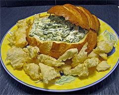 Spinach Cobb dip- another party favourite! I use frozen spinach (thawed and drained as in recipe), 1 pkt Continental brand Spring Vegetable soup, 1 tub (300ml) of reduced fat sour cream and 1 tub (250g) of reduced fat cream cheese. The method is the same.