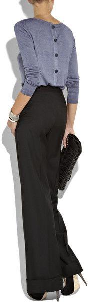 black slacks, grey back button up