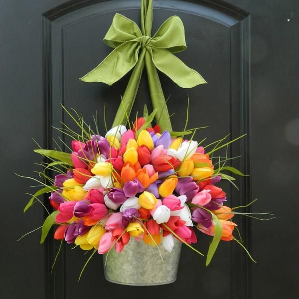 Bright Spring Wreath - Customized Tulip Wreath - Many Colors - You Choose Color Combo - Ever Blooming Originals - 1