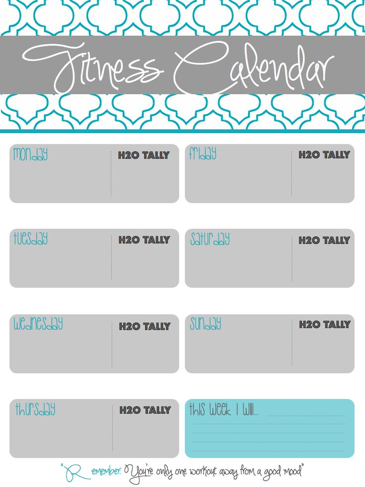 Printable Fitness Calendar I made to track workouts, water intake and ...