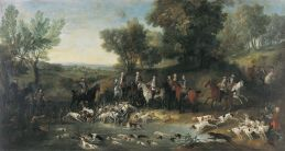 OUDRY,Jean-Baptiste,Louis XV Stag Hunting in the Forest at Saint Germain-en-Laye,1730, tableau Peinture Toile Peinture à l'huile Dimensions (cm):Largeur:390 Hauteur:210, Oudry was the greatest animal painter of the 18th century.He was also the Director of the Manufacture Royale de Beauvais tapestry workshop and the painter of the royal hunt. Louis XV was a keen hunter who knew the name of every one of the dogs in the pack.