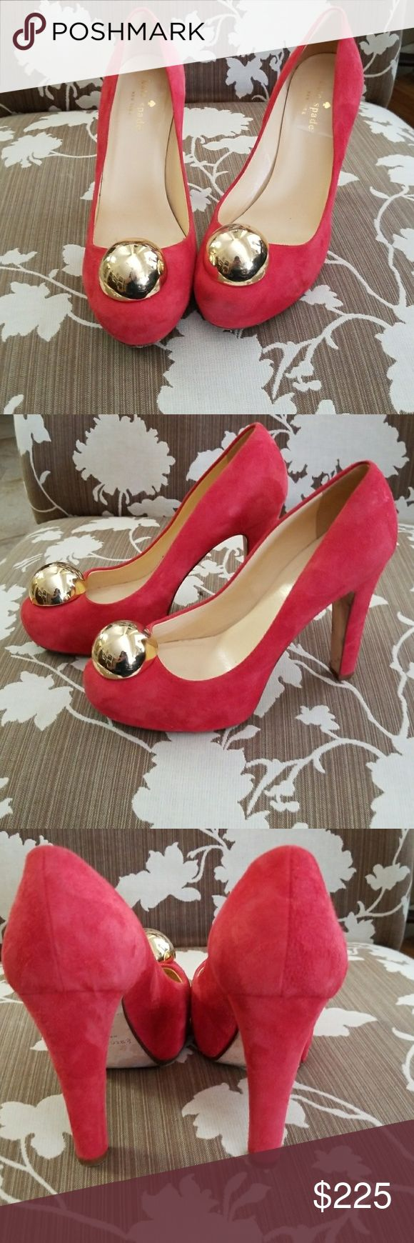 """KATE SPATE Suede Heels with Gold Ball Accent Kate Spade Heels with Ball Accent. Beautiful and gorgeous shoe sure to make a statement. Made in Italy. Heels measure 4.25""""   I kate spade Shoes Heels"""