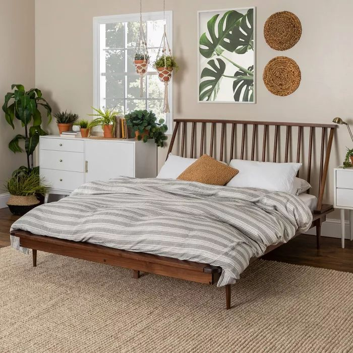 Best Queen Mid Century Modern Solid Wood Spindle Bed Walnut 400 x 300