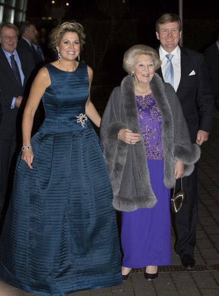 (L-R) The Netherland's Queen Maxima, Princess Beatrix and King Willem-Alexander leave after attending a celebration of the reign of Princess Beatrix on 01 Feb 2014 in Rotterdam, Netherlands.