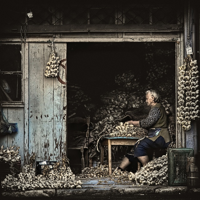 The Garlic seller, Athens, Greece