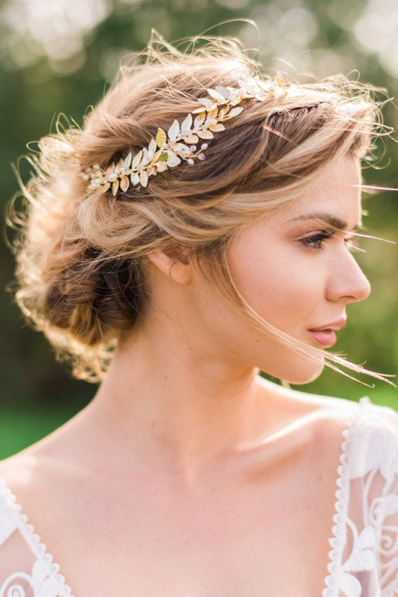 Gold Leaf Headband Gold Bridal Hair Wreath by ABitofLoveWedding