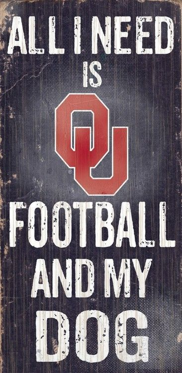"Oklahoma Sooners Wood Sign - Football and Dog 6""""x12"""""