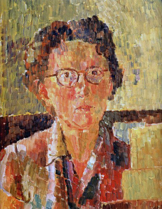 Auto-retrato. 1948. Óleo no cartão. Graça Cossington Smith (Sydney, Nova Gales do Sul, Austrália, 20/04/1892 - 20/12/1984, Sydney, Nova Gales do Sul, Austrália). Encontra-se na Galeria Nacional de Retratos, em Camberra, Austrália.