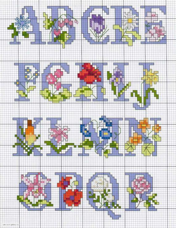alfabeto morado y flores