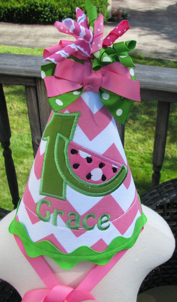 first birthday hat free personalization made to match my watermelon  birthday dress on Etsy, $20.99