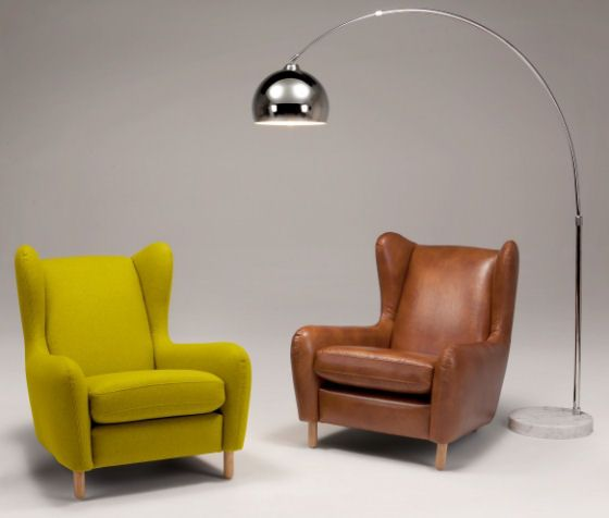 Rubens armchair in green wool and cognac leather for Ohrensessel yellow