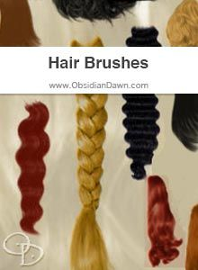 """Obsidian Dawn Photoshop & GIMP Brushes - Hair (extensions, braids, etc - if you're looking to add waves/length, try my """"Hair Strands"""" brushes!)"""