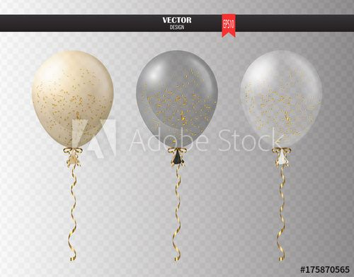 Realistic transparent helium set of balloons with confetti isolated in the air. Party balloons for event design. Party decorations for birthday, anniversary, celebration. Shine transparent balloon.