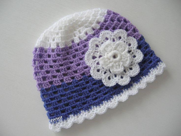 Čepička Háčkovaná čepička, jarní, letní, obvod 50 cm, fialová + bílá