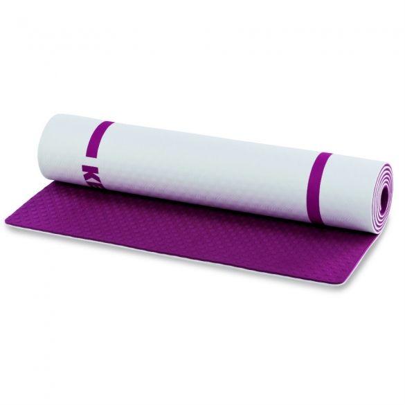 Kettler Yoga Mat  Description: De Kettler Yoga Mat is een must voor alle balans yoga en pilates oefeningen. Ongeacht het vloeroppervlak biedt de mat een stevige grip en dankzij de geïntegreerde draagband kan de mat snel opgerold en meegenomen worden. Het formaat is 173 x 61 cm Kleuren: Wit-Paars  Price: 34.95  Meer informatie