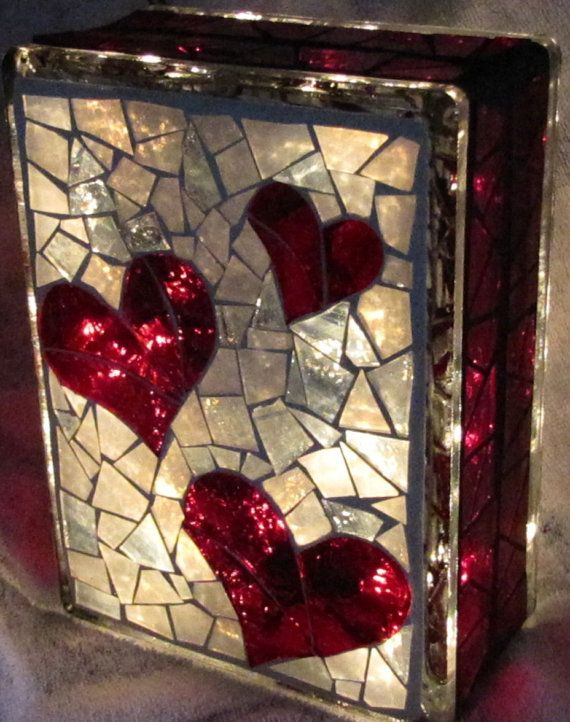 Hearts Stained glass Mosaic block with lights