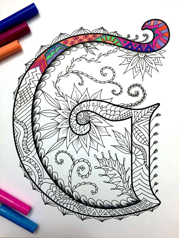 8.5x11 PDF coloring page of the uppercase letter G - inspired by the font Harrington  Fun for all ages.  Relieve stress, or just relax and have fun