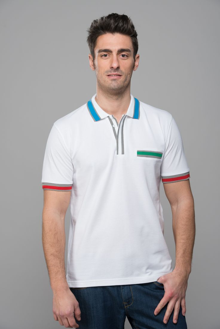 M950218.  Mavango classic to prove that you can be vibrant and classy at the same time. Perfect polo with eye stopping details on collar and pockets to get you the celebrity status.