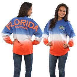Florida Gators Women's Ombre Long Sleeve Dip-Dyed Spirit Jersey - Royal