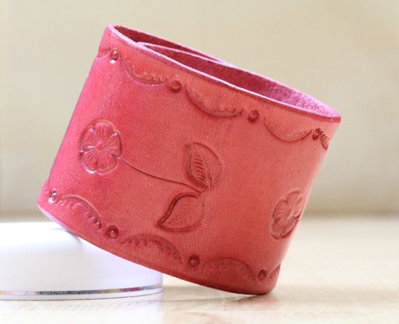 Flower Bracelet  Pink Leather Flower by TinasLeatherCrafts on Etsy. Repin To Remember.
