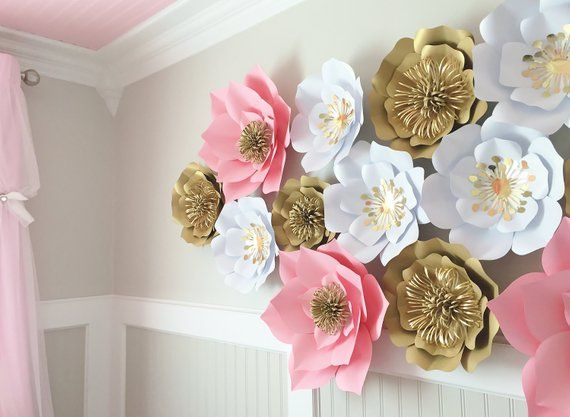 Set Of 16 Large Paper Flowers Nursery Floral Arrangement