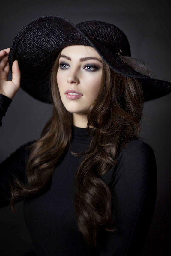 Wide Brim Floppy Hat, Black Summer Hat, Elegant Fashion Sun Hat - Fern